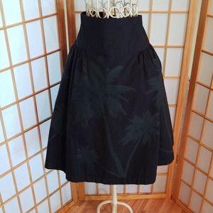Norma Kamali Black Grey Gray Palm Tree Skirt